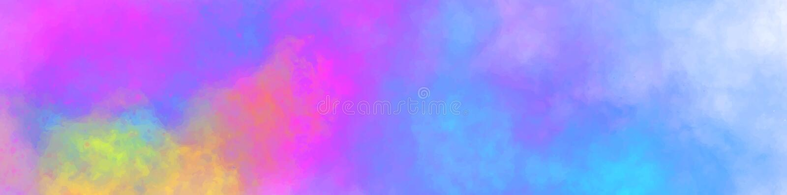 Vector horizontal banner. Abstract web background with colorful clouds, smoke, multicolor dust, paint. Multicolored royalty free illustration