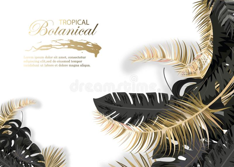 Vector horizontal banner with black and gold tropical leaves on dark background. Luxury exotic botanical design for cosmetics, spa stock illustration