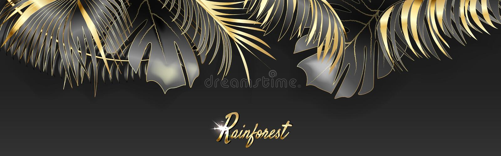 Vector horizontal banner with gold, silver and black tropical leaves on dark background. Rainforest. vector illustration