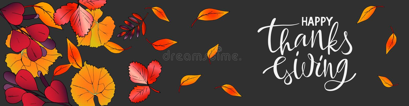 Vector horizontal banner Thanksgiving day Lettering with leaves royalty free illustration