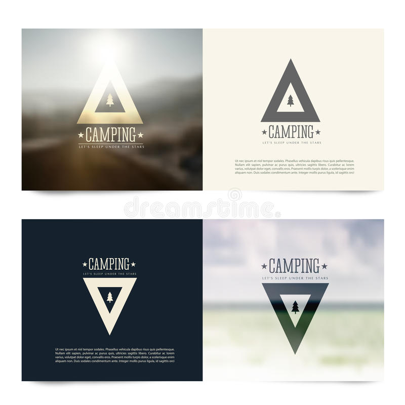 Vector horizontal banners with camping emblems vector illustration