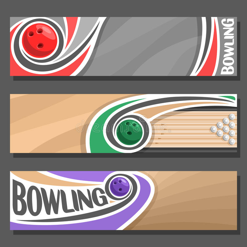 Free Vector Horizontal Banners For Bowling Stock Images - 88358184