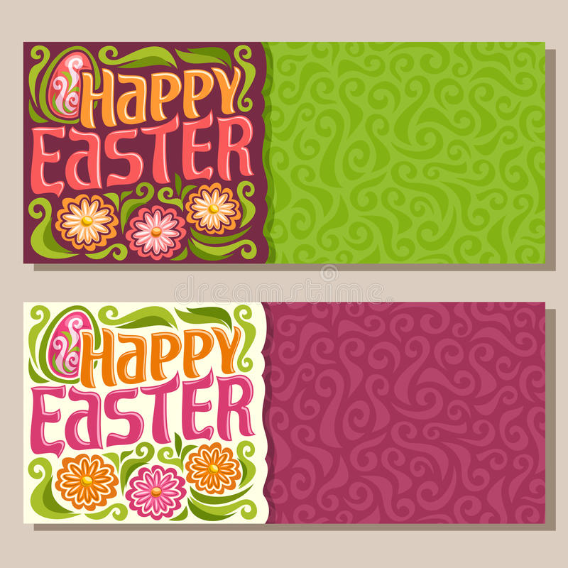 Vector horizontal Banners for happy Easter holiday vector illustration