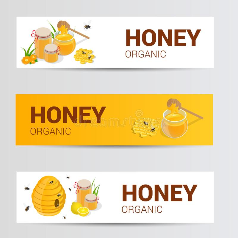 Vector horizontal banners set with sweet honey, honeycomb and jar full of natural flower honey isolated on white stock illustration