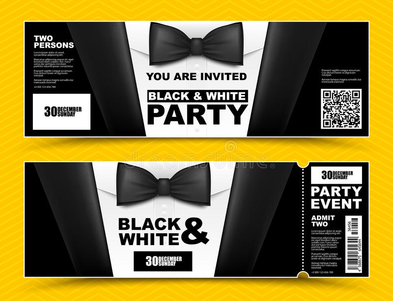 Vector horizontal black and white event invitations. Black bow tie businessmen banners. Elegant party ticket card with black suit stock illustration