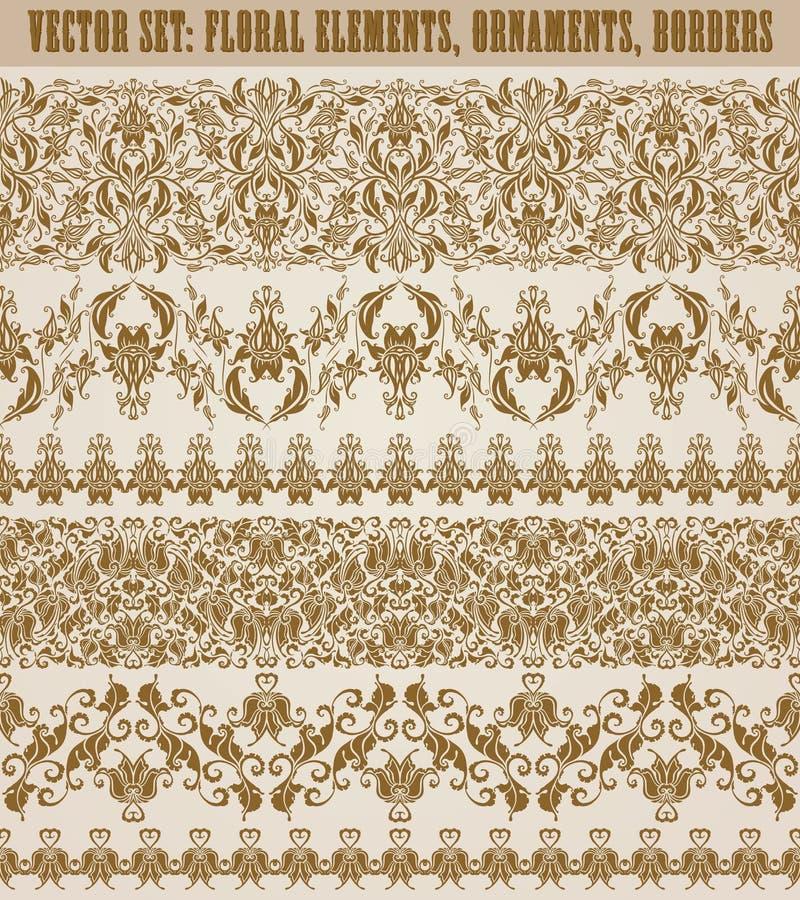 Download Vector Horizontal De La Decoración De Los Elementos Ilustración del Vector - Ilustración de damasco, decorativo: 42439659