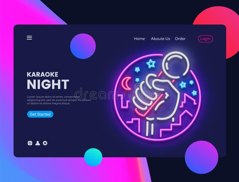 Vector horizontal de neón de la bandera del web del Karaoke Interfaz en diseño moderno de la tendencia, neón del web de la bander stock de ilustración