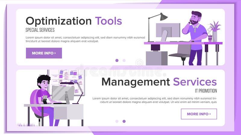 Vector horizontal del diseño del sitio web de las banderas Interfaz del negocio Diseño responsivo de Ux Personaje de dibujos anim libre illustration