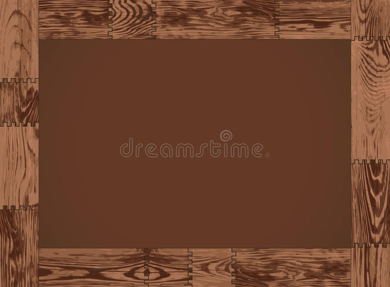 Vector horizontal frame - dark wood