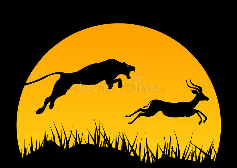Vector horizontal illustration of africa. wild life. hunting. africa logo. Jaguar and antelope. Tree and animals. stock illustration
