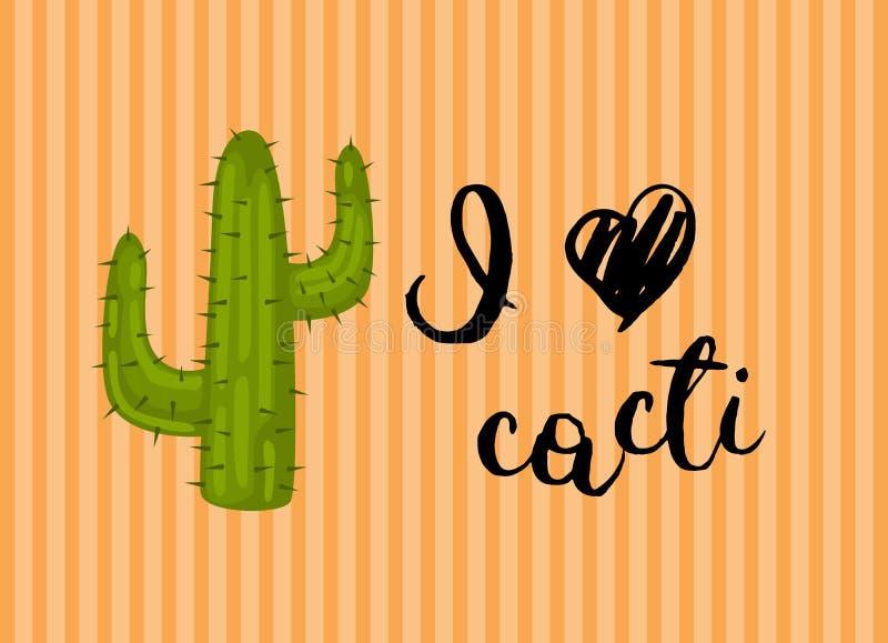 Vector horizontal illustration with wild desert cactus stock illustration