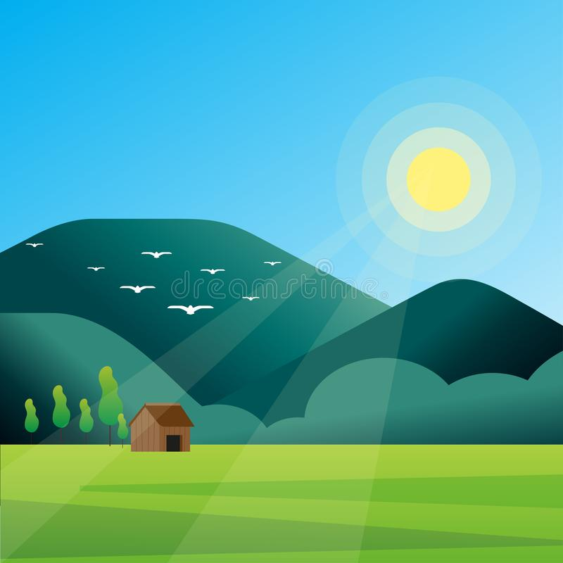 Vector horizontal landscape with fog, forest, mountains and morning sunlight. Illustration of panoramic view, mist and silhouettes royalty free illustration