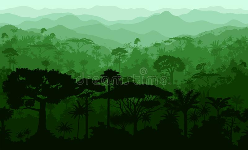 Vector horizontal layered seamless tropical rainforest Jungle forest background vector illustration