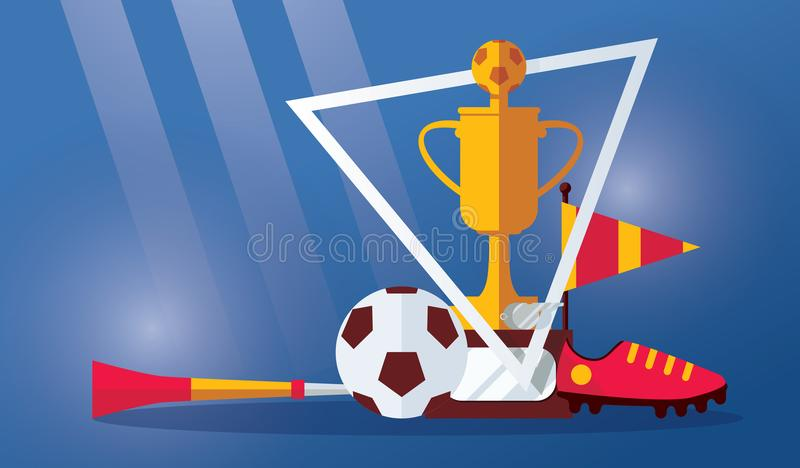 Vector horizontal scene with football winner cup, soccer ball, boots, vuvuzela and flag on blue background. Sport illustration wit stock illustration