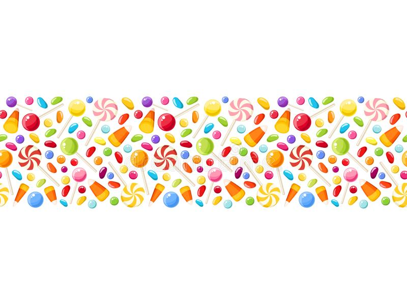 Horizontal seamless background with Halloween candies. Vector illustration. stock illustration