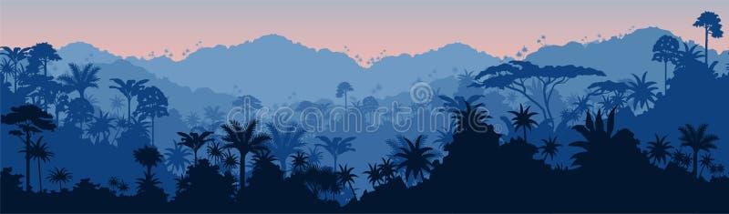 Vector horizontal seamless blue tropical rain forest Jungle background. Illustration royalty free illustration