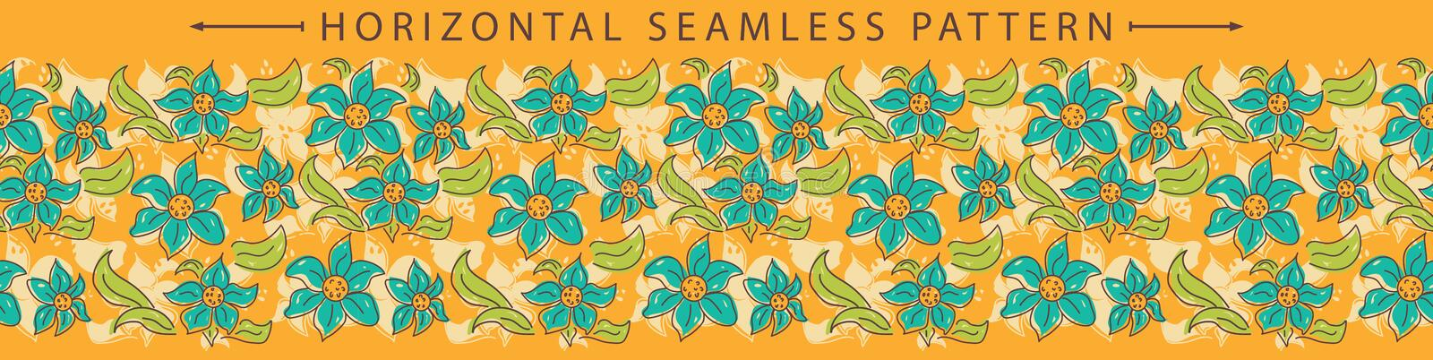 Vector horizontal seamless border with beautiful floral element. Holiday background. Great for wallpaper, backgrounds, packaging, fabric, scrapbooking, and royalty free illustration