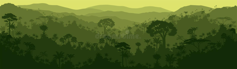 Vector horizontal seamless brazil venezuela tropical rainforest Jungle background stock illustration