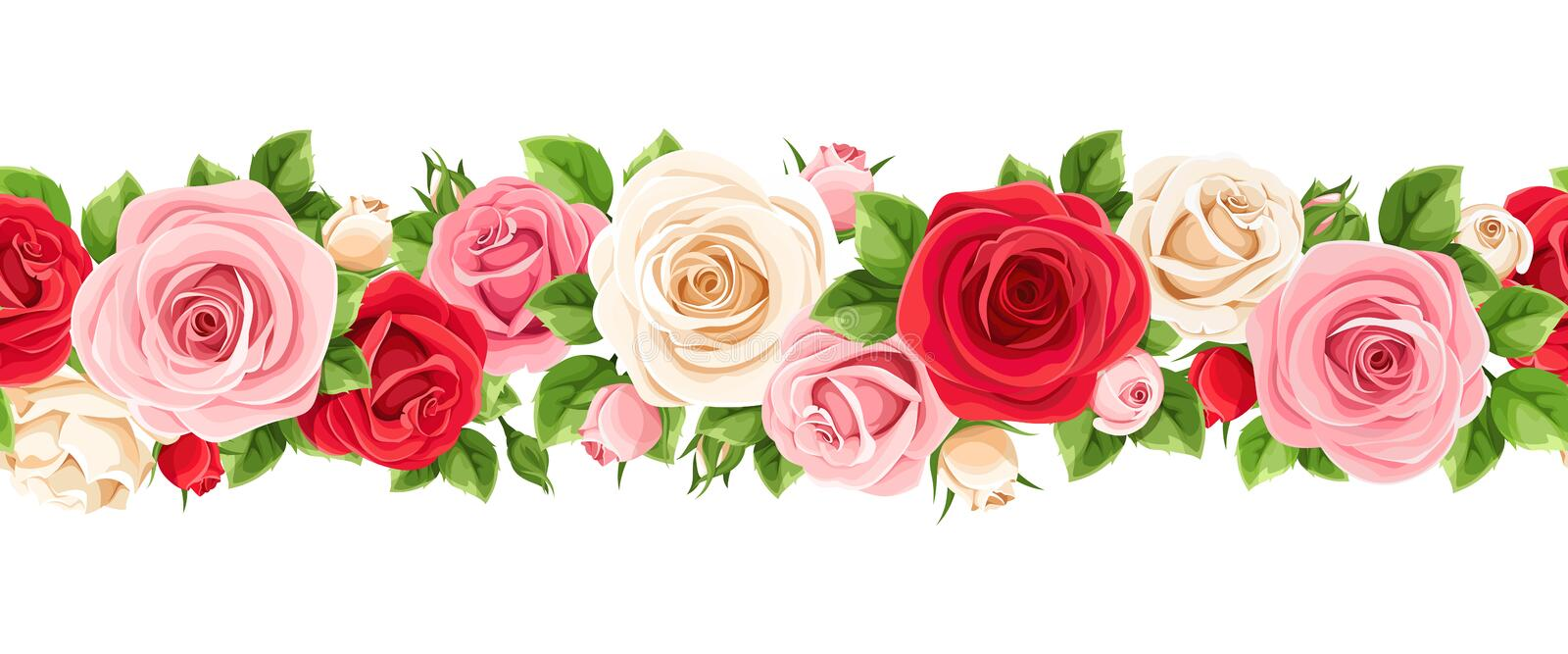 Horizontal seamless garland with red, pink and white roses. Vector illustration. Vector horizontal seamless garland with red, pink and white roses and green royalty free illustration