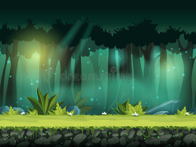 Vector horizontal seamless illustration of forest in a magical mist stock illustration