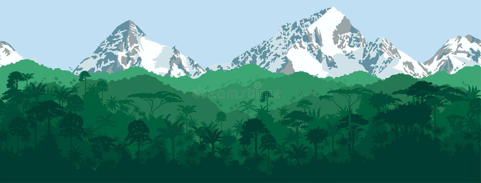 Vector horizontal seamless tropical Jungle with mountains background vector illustration