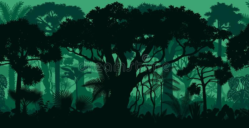 Vector horizontal seamless tropical rainforest Jungle forest background royalty free illustration