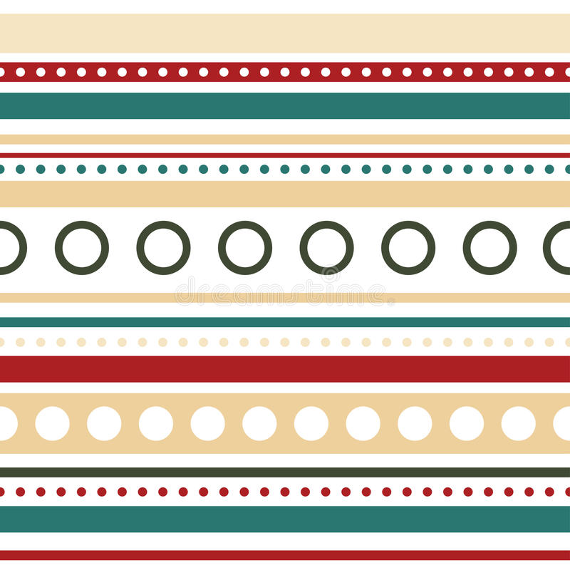 Vector horizontal stripes and circles seamless stock photo