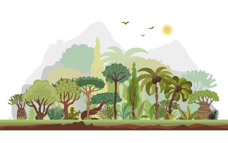 Vector horizontal tropical rainforest illustration. Jungle flat design. Forest landscape With Mountains on Background royalty free illustration