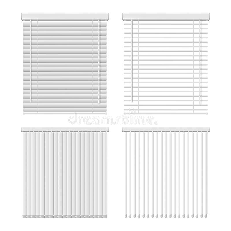 Vector horizontal and vertical window blinds icon set. Vector set of horizontal and vertical window blinds. Window shutter realistic illustration stock illustration
