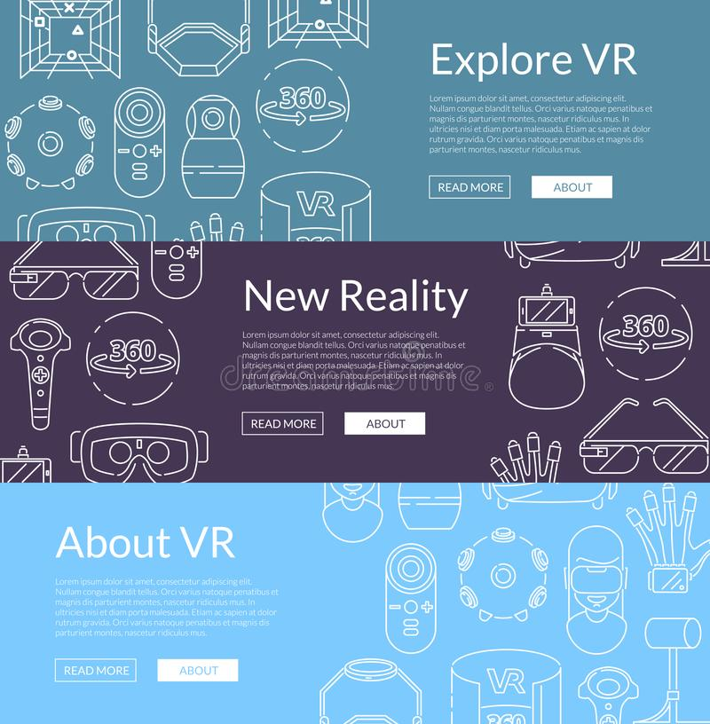 Vector banners illustration with linear style virtual reality elements vector illustration