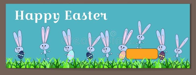 Vector horizontale banner voor Gelukkige Pasen met geschilderde eieren en konijntjes De eieren van de konijnengreep met een bloem stock illustratie