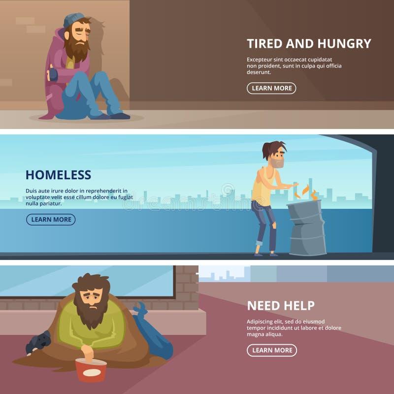 Vector horizontale banners met illustraties van slechte en dakloze volkeren stock illustratie
