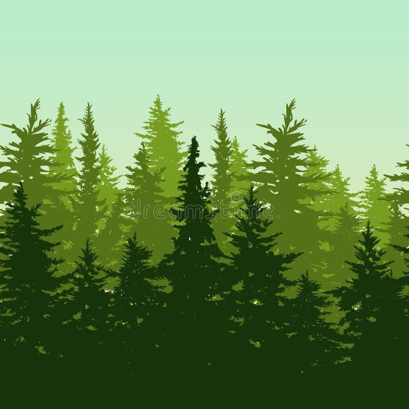 Vector horizontale naadloze achtergrond met groene pijnboom of spar -spar-tre vector illustratie
