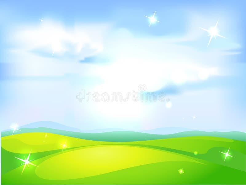 Vector horizontale natuurlijke achtergrond met blauwe hemel stock illustratie