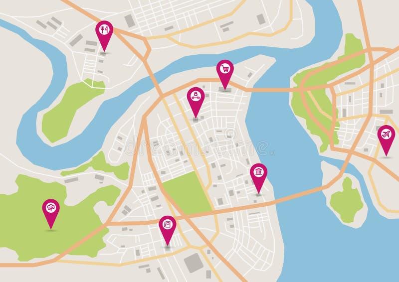 Vector horizontale stadskaart vector illustratie