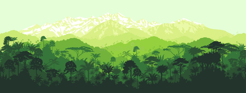 Vector horizontalen nahtlosen tropischen Dschungel mit Gebirgshintergrund stock abbildung