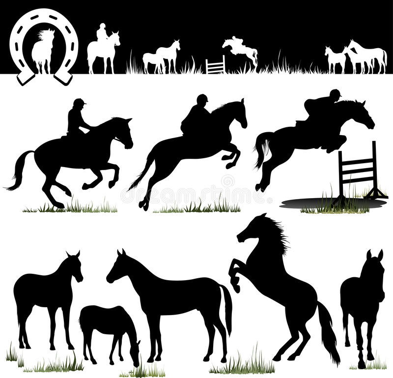 Vector Horse Silhouettes Stock Photos