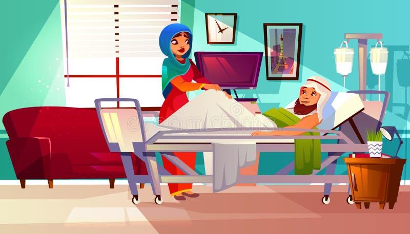 Vector hospital concept. Arabic patient, Muslim nurse vector illustration