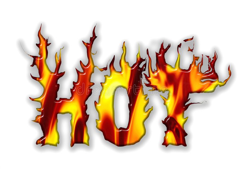 Vector Hot. The word hot written in vivid flames of orange and yellow with a shadow and on a white background. Vector also royalty free illustration