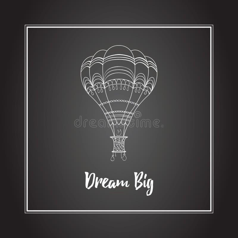 Vector hot air balloon illustration on the black board stock illustration