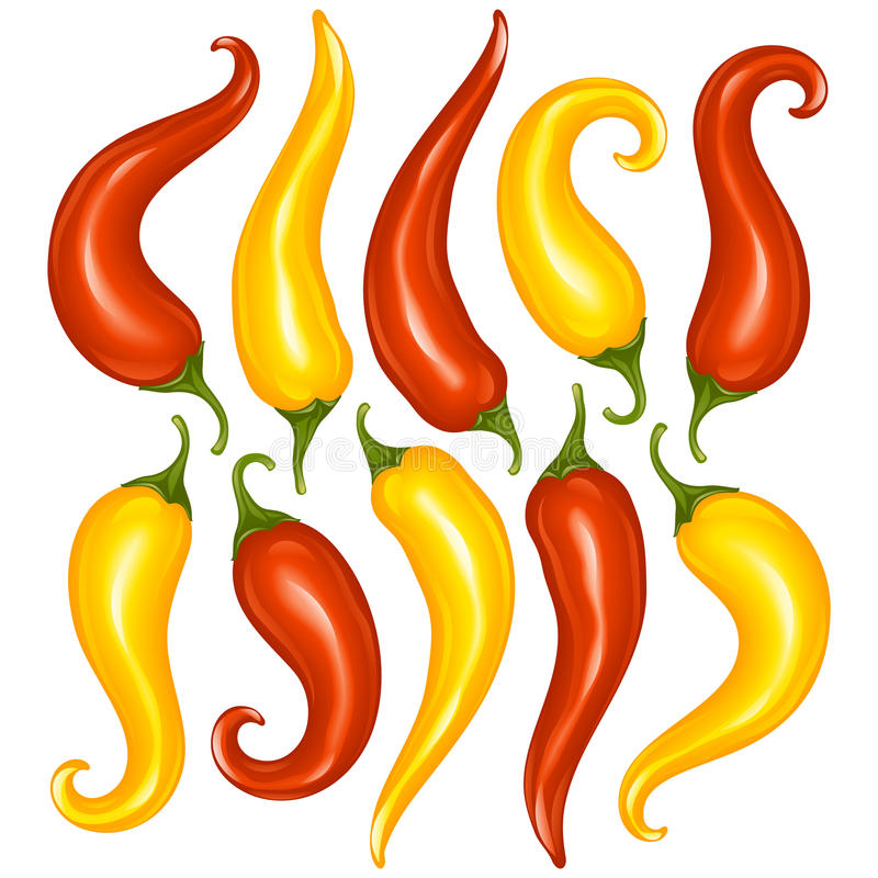 Vector Hot chilli pepper set isolated on white bac
