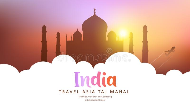 Vector Hot dog, poster Travel India, Taj Mahal silhouette colorful sunset background isolated on white background vector illustration