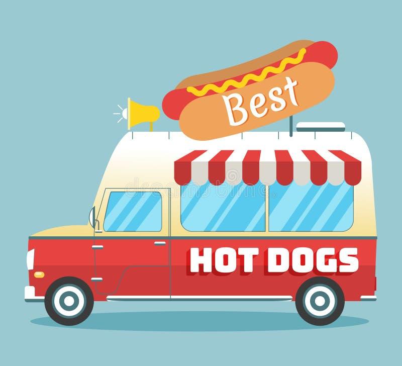 Vector hot dogs truck stock illustration