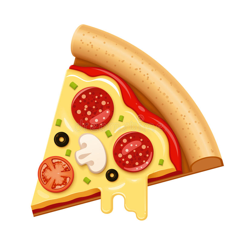 Vector hot pizza slice with sticky cheese and salami icon royalty free illustration