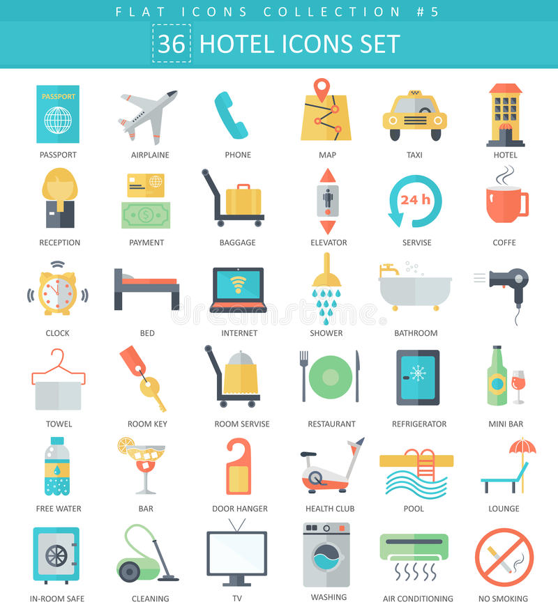 Vector hotel color flat icon set. Elegant style design. vector illustration