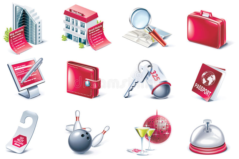 Vector hotel service icon set royalty free illustration