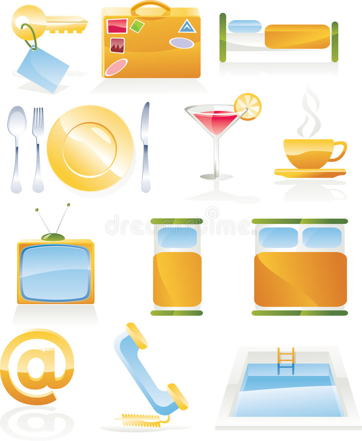Free Vector Hotel Service Icon Set Royalty Free Stock Photos - 8638978