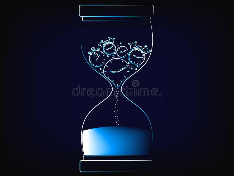 Vector hourglass melting clock, the time is now concept stock illustration