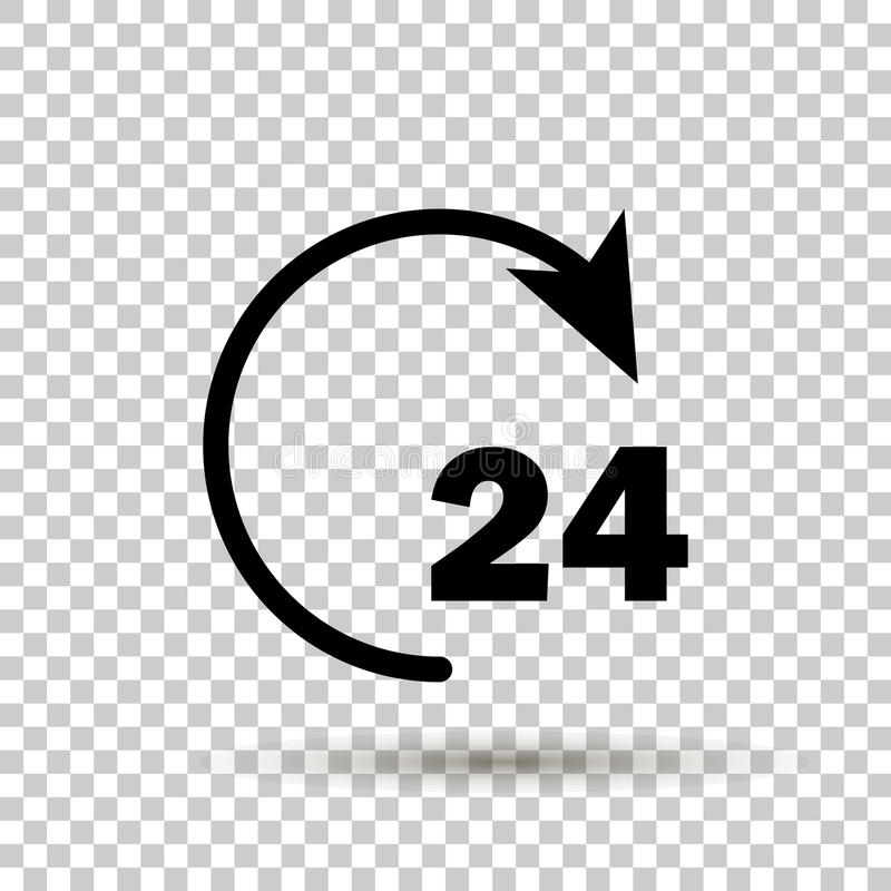 Vector 24 hours icon. Vector circle with an arrow showing non-stop work for 24 hours. Open around the clock hours a day icon. vector illustration