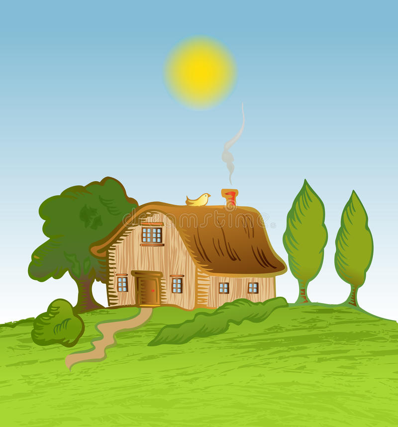 Vector house background with trees stock illustration